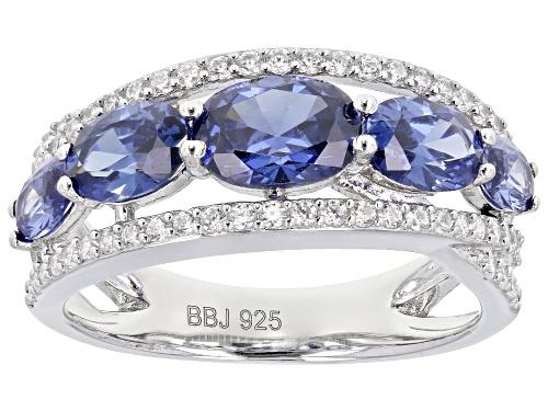 Photo of Bella Luce ® Esotica™ 4.80ctw Tanzanite And White Diamond Simulants Rhodium Over Silver Ring - Size 10