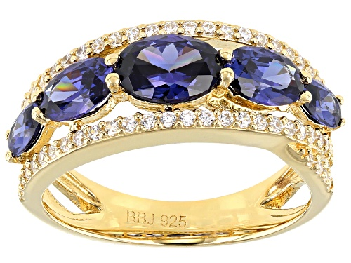 Photo of Bella Luce ® Esotica™ 4.80ctw Tanzanite And White Diamond Simulants Eterno™ Yellow Ring - Size 5