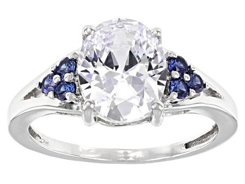 Photo of Bella Luce ® Esotica™ 4.48ctw Tanzanite And White Diamond Simulants Rhodium Over Silver Ring - Size 10