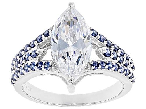 Photo of Bella Luce ® Esotica™ 5.27ctw Tanzanite And White Diamond Simulants Rhodium Over Silver Ring - Size 8