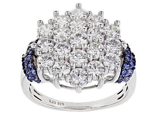 Photo of Bella Luce ® Esotica™ 4.90ctw Tanzanite And White Diamond Simulants Rhodium Over Silver Ring - Size 7