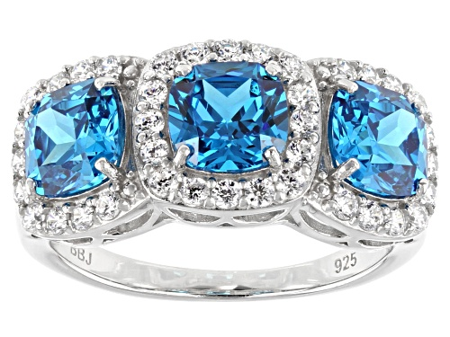 Photo of Bella Luce ® Esotica™ 6.13ctw Neon Apatite And White Diamond Simulants Rhodium Over Silver Ring - Size 8