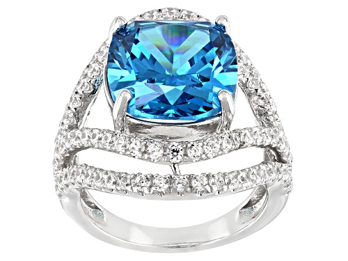 Photo of Bella Luce ® Esotica™ 16.70ctw Neon Apatite And White Diamond Simulants Platinum Over Silver Ring - Size 7