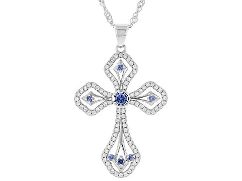 Photo of Bella Luce® Esotica™ Tanzanite and White Diamond Simulants Rhodium Over Silver Pendant With Chain