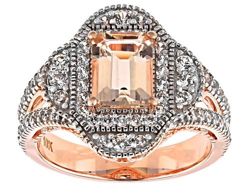 Photo of 1.09ct Emerald Cut Cor-De-Rosa Morganite™ with 1.15ctw Round White Zircon 10k Rose Gold Ring - Size 7