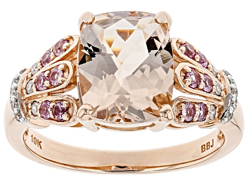 Photo of 2.44ct Cor-De-Rosa Morganite™, .18ctw Pink Sapphire, .07ctw Diamond Accent 10k Rose Gold Ring - Size 7