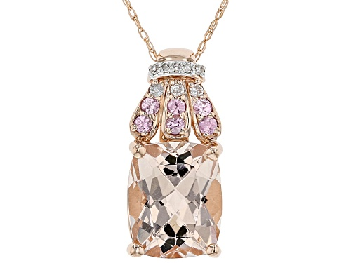 Photo of 2.56ctw Cor-De-Rosa Morganite™, Pink Sapphire & Diamond Accents 10k Rose Gold Pendant W/Chain