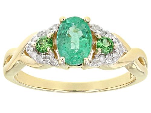 .60ct Ethiopian Emerald With .15ctw Tsavorite And .10ctw White Diamonds 10k Yellow Gold Ring - Size 8