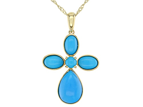 Photo of Oval, Pear Shape and Round Sleeping Beauty Turquoise 10k Yellow Gold Cross Pendant W/Chain