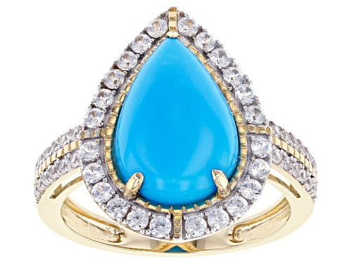 Photo of 13x9mm Pear Shape Sleeping Beauty Turquoise With .78ctw Round White Zircon 10k Yellow Gold Ring - Size 6