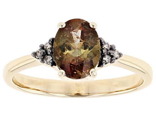 Photo of .99ct Oval Andalusite With .03ctw Round Champagne Diamond Accent 10k Yellow Gold Ring - Size 7