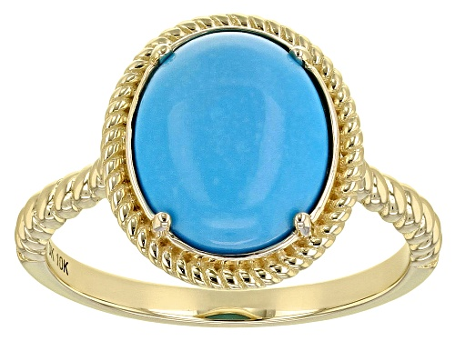 Photo of 11x9mm Oval Cabochon Sleeping Beauty Turquoise 10k Yellow Gold Ring - Size 7