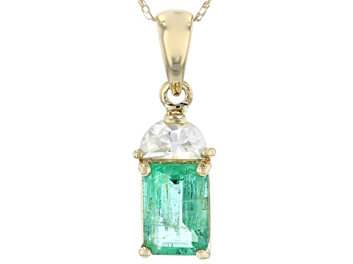 Photo of .89ct Emerald Cut Ethiopian Emerald & .34ctw Crescent Shape White Zircon, 10k Gold Pendant W/Chain