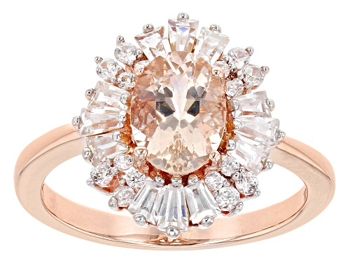 Photo of .94ct Oval Cor De Rosa Morganite™ With 1.19ctw  Baguette & Round White Zircon 10k Rose Gold Ring - Size 7