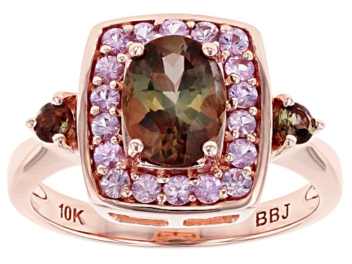 Photo of 1.11ctw Oval And Round Andalusite With .41ctw Round Pink Sapphire 10k Rose Gold Ring - Size 7