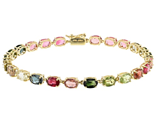 Photo of 9.38ctw Oval Mixed Color Multi-Tourmaline 10k Yellow Gold Tennis Bracelet - Size 7.25