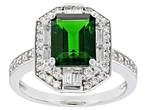 Photo of 2.90ctw Emerald Cut Chrome Diopside, Baguette & Round White Zircon Rhodium Over 10k White Gold Ring - Size 8