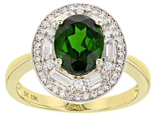 Photo of 1.63ct Oval Russian Chrome Diopside With .78ctw Baguette & Round White Zircon 10k Yellow Gold Ring - Size 7