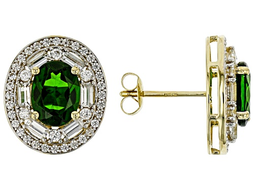 Photo of 2.38ctw Oval Russian Chrome Diopside, 1.19ctw Baguette & Round White Zircon 10k Gold Stud Earrings