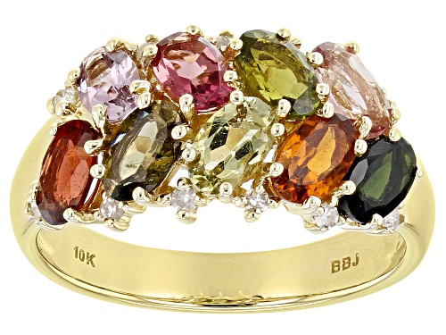 Photo of 1.85ctw Oval Mixed-Color Tourmaline With .08ctw Round White Diamond Accent 10k Yellow Gold Band Ring - Size 7