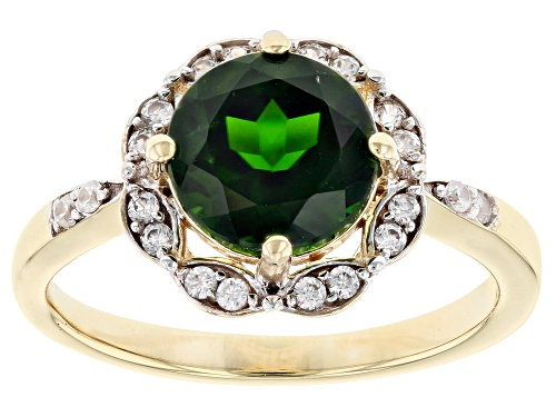 Photo of 1.70ct Round Chrome Diopside Solitaire With .29ctw Round White Zircon 10k Yellow Gold Ring - Size 7