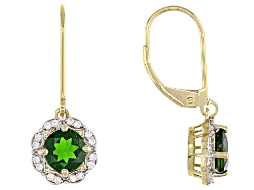 Photo of 1.62ctw Round Russian Chrome Diopside & .24ctw Round White Zircon 10k Yellow Gold Dangle Earrings