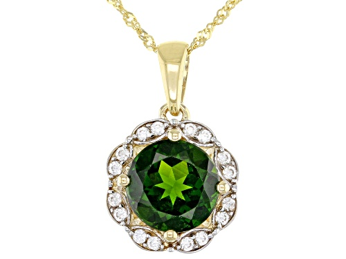 Photo of 1.70ct Round Chrome Diopside Solitaire & .23ctw Round White Zircon 10k Yellow Gold Pendant W/Chain