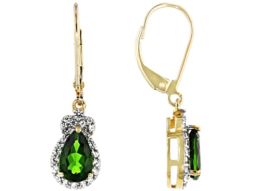 Photo of 1.53ctw Pear Shape Russian Chrome Diopside & .66ctw Round White Zircon 10k Gold Dangle Earrings