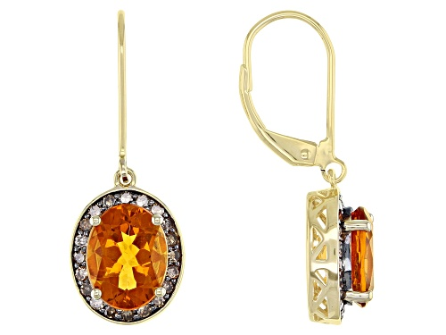 Photo of 2.89ct Oval Madeira Citrine With .37ctw Round Champagne Diamonds 10k Yellow Gold Dangle Earrings
