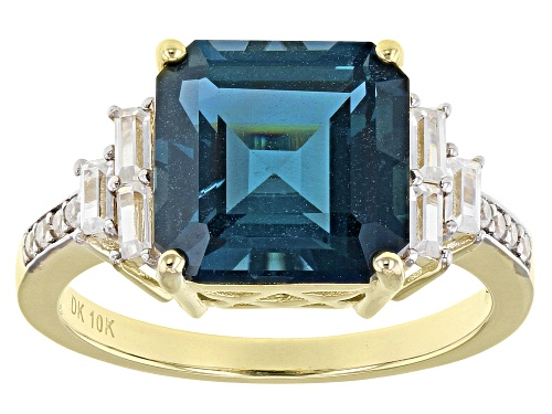 Photo of 4.62ct Square Emerald Cut London Blue Topaz, .41ctw Round & Baguette White Zircon 10k Gold Ring - Size 8