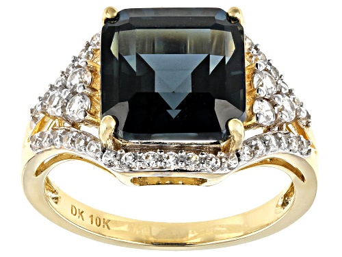 Photo of 4.62ct Square Octagonal London Blue Topaz With .89ctw Round White Zircon 10k Yellow Gold Ring - Size 7