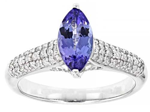 Photo of .89ct Marquise Tanzanite Solitaire With .32ctw Round White Diamonds Rhodium Over 14k White Gold Ring - Size 8