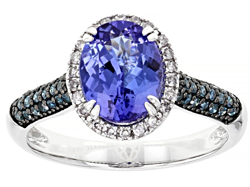 Photo of 1.68ct Tanzanite, .17ctw Blue And .09ctw White Diamond Accent Rhodium Over 10k White Gold Ring - Size 7