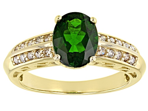 Photo of 1.68ct Oval Russian Chrome Diopside With .25ctw Round Champagne Diamonds, 10k Yellow Gold Ring - Size 8