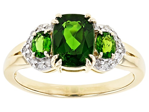 Photo of 1.61ctw Chrome Diopside With .09ctw White Diamond Accent 3-Stone 10k Yellow Gold Ring - Size 7