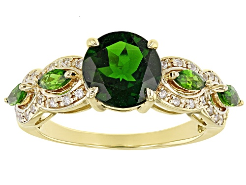 Photo of 2.00ctw Round & Marquise Russian Chrome Diopside With .20ctw Round White Zircon 10k Yellow Gold Ring - Size 6