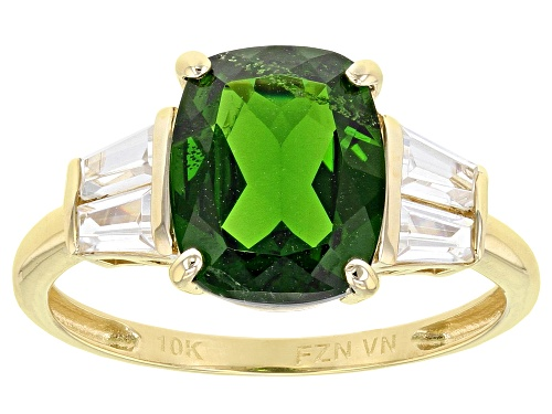 Photo of 3.05ct Rectangular Cushion Chrome Diopside With .56ctw Baguette White Zircon 10k Yellow Gold Ring - Size 6