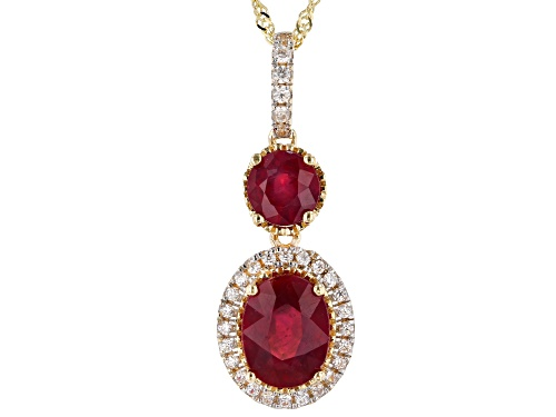 Photo of 1.79ctw Oval & Round Mahaleo® Ruby with .31ctw Round White Zircon 10k Yellow Gold Pendant W/Chain