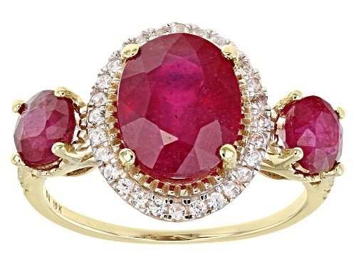 Photo of 4.00ctw Oval and Round Mahaleo® Ruby with .40ctw Round White Zircon 10k Yellow Gold 3-Stone Ring - Size 6