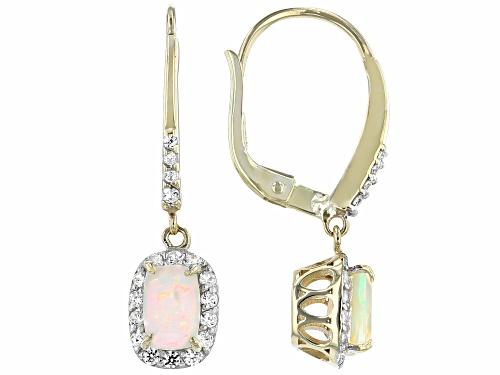 Photo of .68ctw Rectangular Cushion Ethiopian Opal & .39ctw Round White Zircon 10k Gold Dangle Earrings
