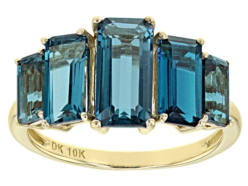 Photo of 4.44ctw Graduated 6x3mm-10x5mm Emerald Cut London Blue Topaz 10k Yellow Gold 5-Stone Ring - Size 7