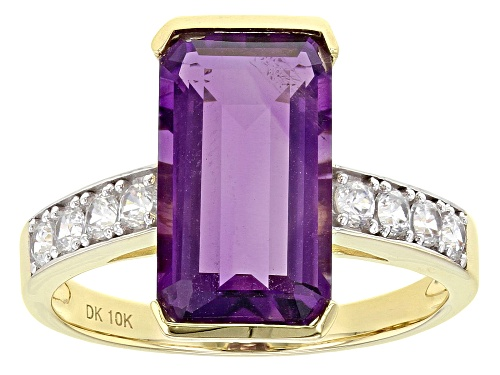 Photo of 4.02ct Emerald Cut Uruguayan Amethyst With .62ctw Round White Zircon 10k Yellow Gold Ring - Size 6