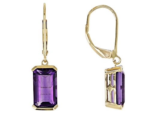 Photo of 3.49ctw Emerald Cut Uruguayan Amethyst Solitaire, 10k Yellow Gold Dangle Earrings