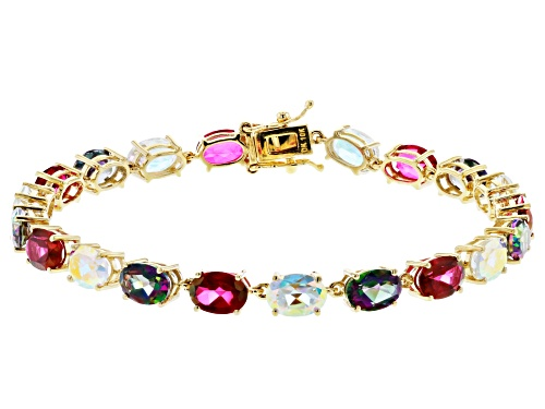 Photo of 18.70ctw Mystic Fire® Green, Mercury Mist® And Peony™ Topaz 10k Yellow Gold Tennis Bracelet - Size 7.25