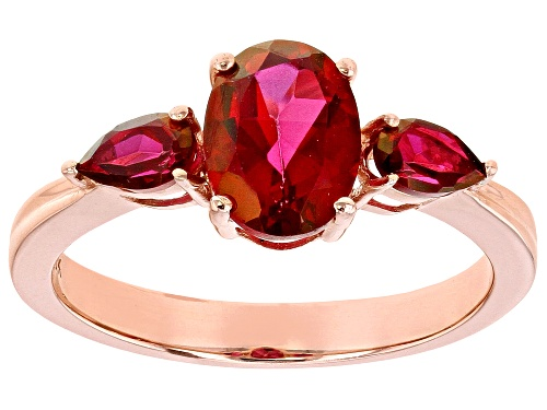 Photo of 1.84ctw Oval and Pear Shape Peony™ Topaz 10k Rose Gold 3-Stone Ring - Size 8