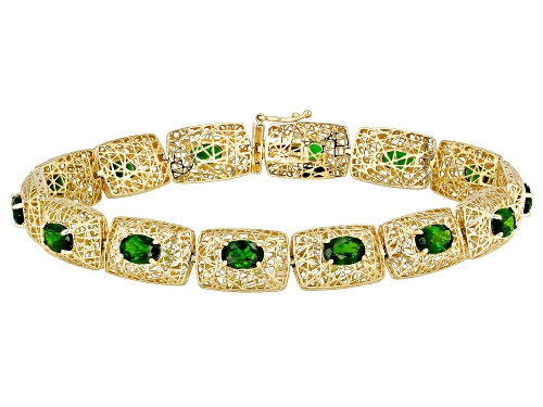 Photo of 5.72ctw Oval Russian Chrome Diopside 10k Yellow Gold Filigree Bracelet - Size 7.25