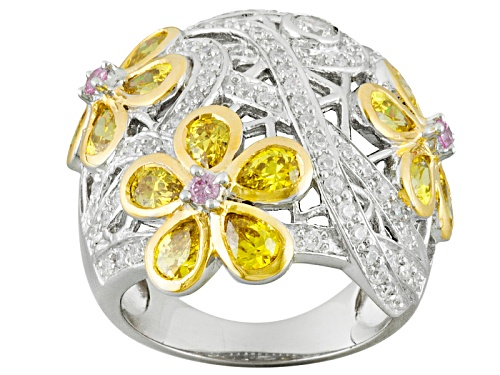 Photo of Bella Luce ® 5.03ctw Pink, Yellow & White Diamond Simulant Rhodium & 18k Yg Over Silver Ring - Size 6