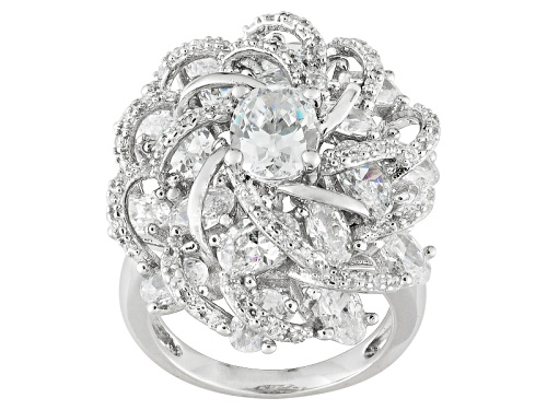 Photo of Bella Luce ® 10.65ctw Oval And Round, Rhodium Over Sterling Silver Cocktail Ring - Size 5