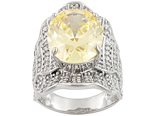 Photo of Bella Luce ® 17.04ctw Canary And White Diamond Simulant Rhodium Over Sterling Silver Ring - Size 5