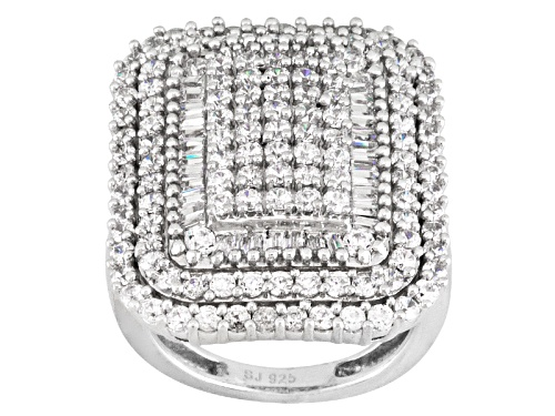 Photo of Bella Luce ® 4.10ctw Round And Baguette Rhodium Over Sterling Silver Ring - Size 5